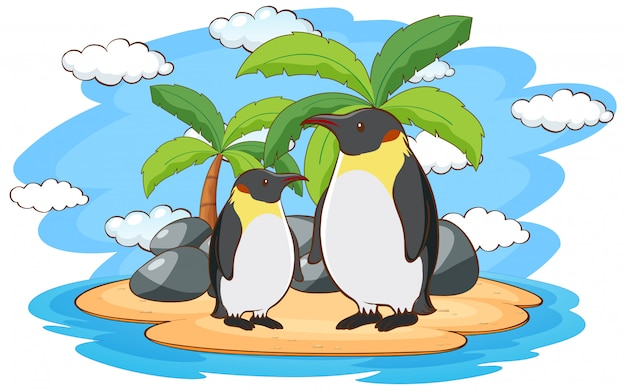 Pingouins debout dans l'île Vecteur gratuit