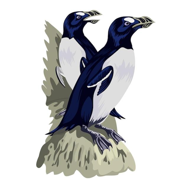 Pingouins Drôles Dans Différentes Poses D'action. Mascottes De Dessin Animé Isolent. Oiseau Animal Pingouin Couple. Vecteur Premium