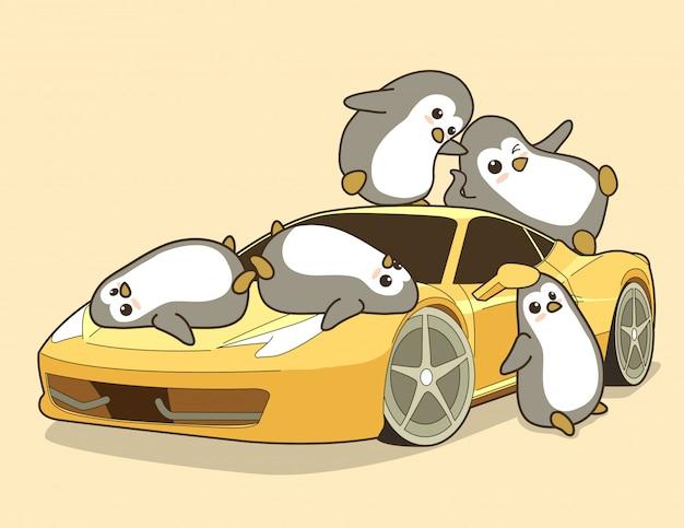 Pingouins kawaii et voiture de sport jaune. Vecteur Premium