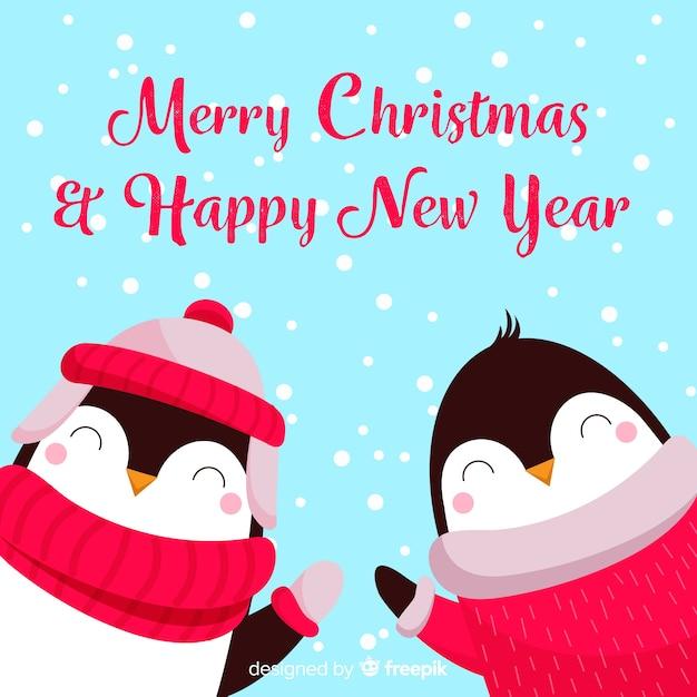 Pingouins De Noël Vecteur gratuit