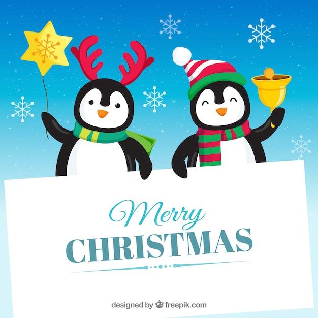 Pingouins Avec Signe Vierge Vecteur gratuit