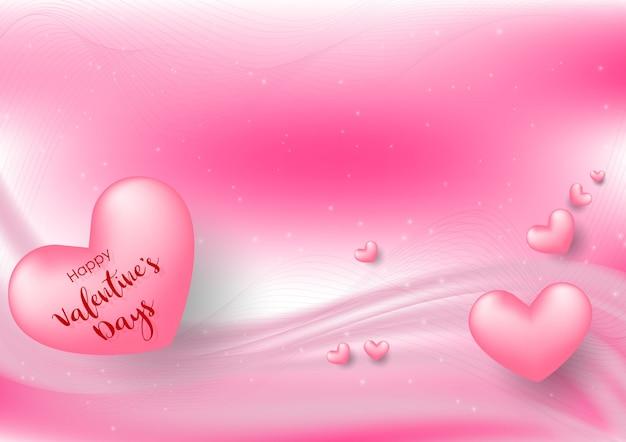 Pink valentine's day avec des coeurs sur fond rose Vecteur Premium