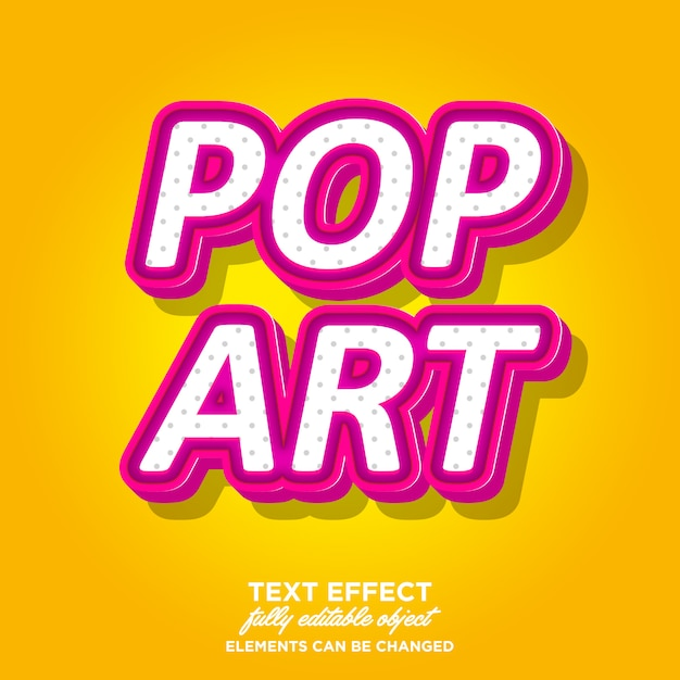 Pinky pop art style de texte 3d Vecteur Premium