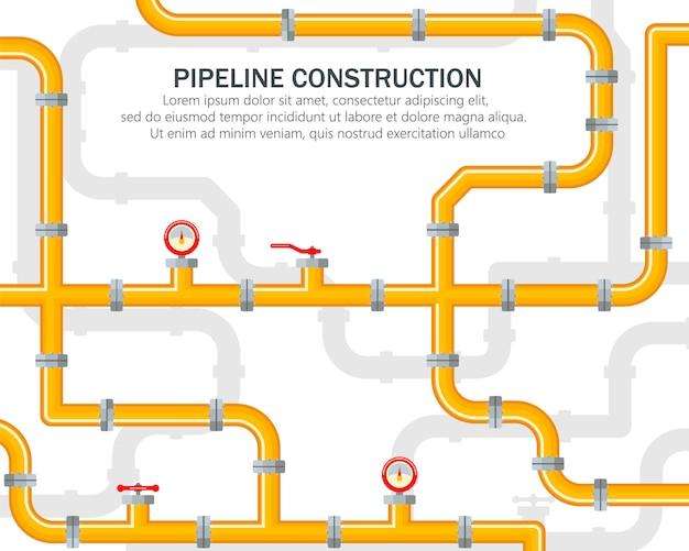 Pipeline Industriel Sur Fond Jaune. Pièces De Rechange Pour Le Pipeline. Le Levier Ouvre Ou Ferme La Vanne. Huile, Eau Ou Gaz En Trompette. Vecteur Premium
