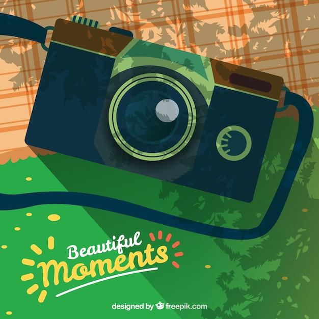 Pique-nique avec un appareil photo illustration Vecteur gratuit