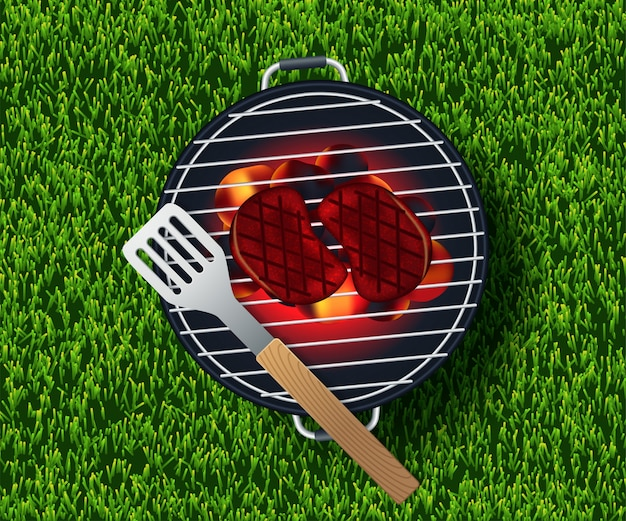 Pique-nique estival sur l'herbe avec panier, assiette vide blanche et accessoires Vecteur Premium