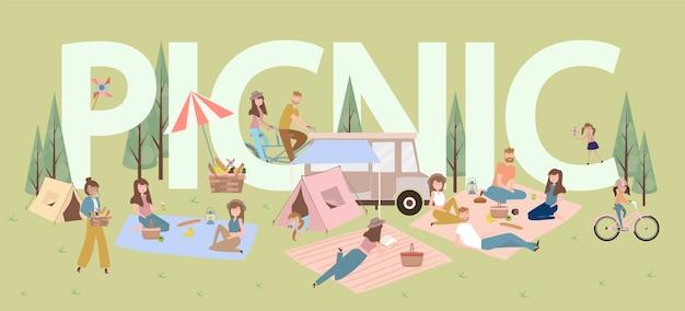 Pique-nique D'été Avec Des Vacances Actives En Famille Avec Enfants, Couples, Familles, Détente Dans La Nature, Faire Du Vélo. Vecteur Premium