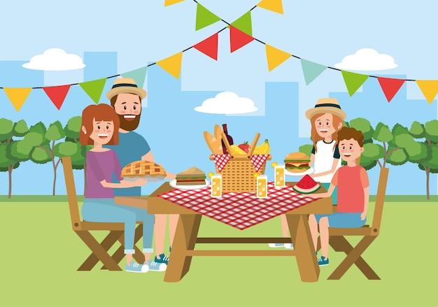 Pique-nique familial ensemble dans la table et le panier Vecteur Premium