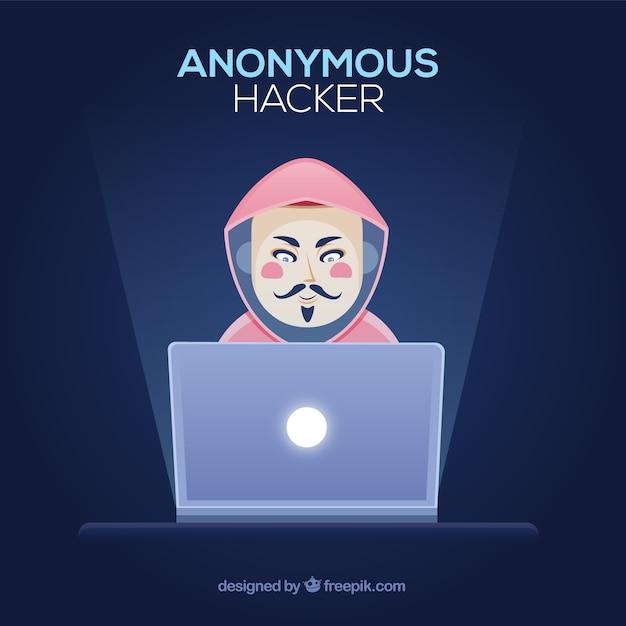 Pirate anonyme au design plat Vecteur gratuit