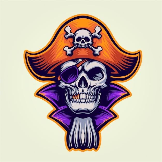 Le pirate du crâne Vecteur Premium