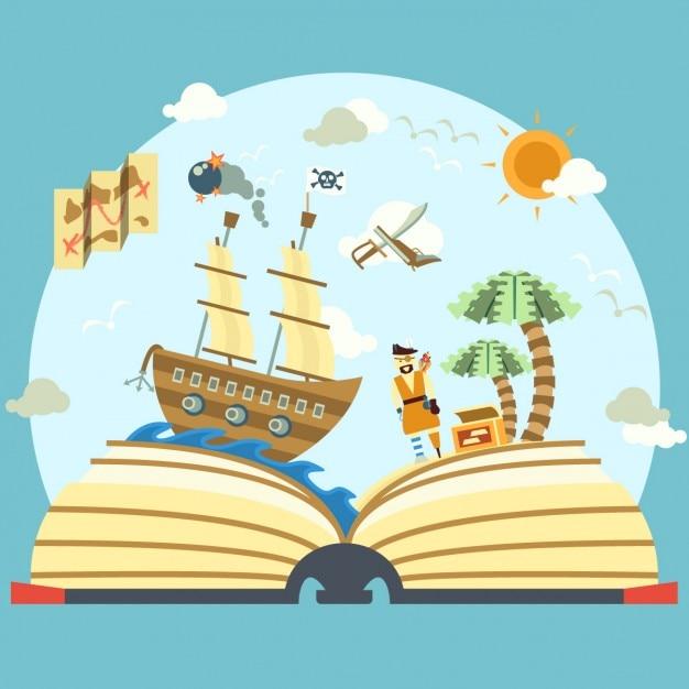 Pirate livre d'histoire Vecteur gratuit
