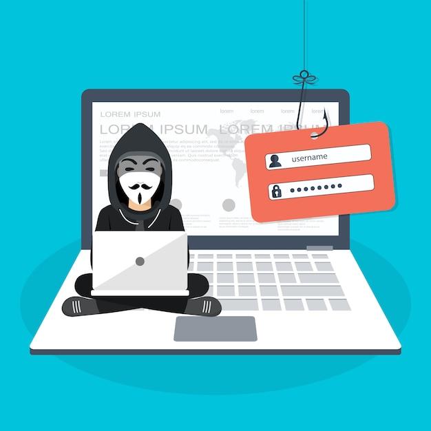 Pirater une attaque de phishing Vecteur Premium
