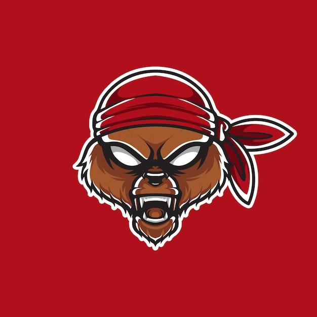 Pirates Grizzly Head Template Logo Vecteur Premium