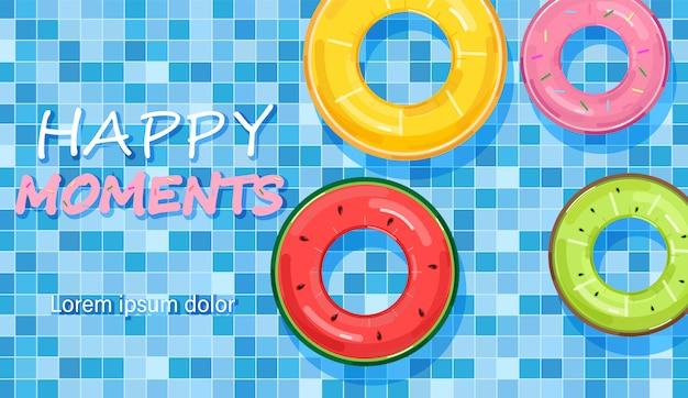 Piscine colorée anneaux sur l'eau Vecteur Premium
