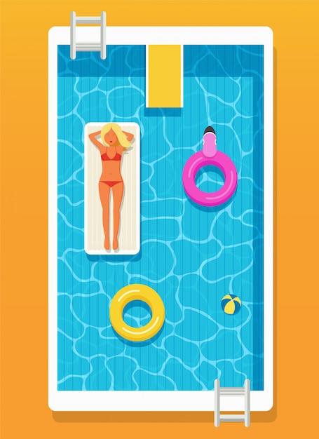 Piscine à l'eau claire, cercles gonflables et une fille Vecteur Premium