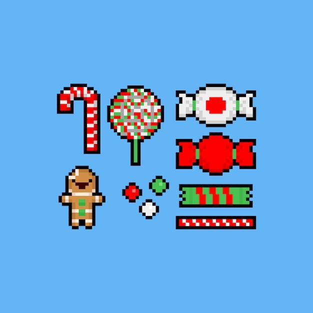 Pixel Art Cartoon Jeu D'icônes De Bonbons De Noël. Vecteur Premium