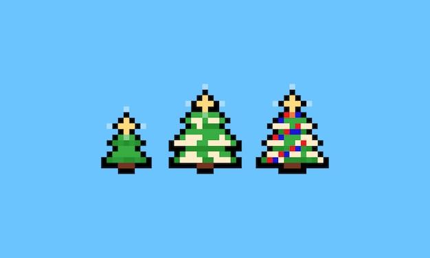 Pixel Art Cartoon Jeu D Icônes De Sapin De Noël