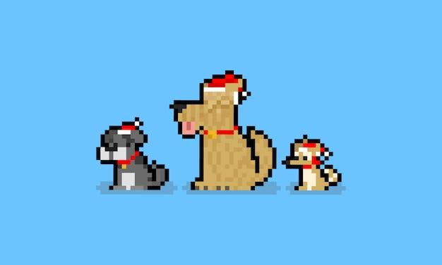 Pixel Art Dessin Animé Mignon Chien Caractère Avec Chapeau