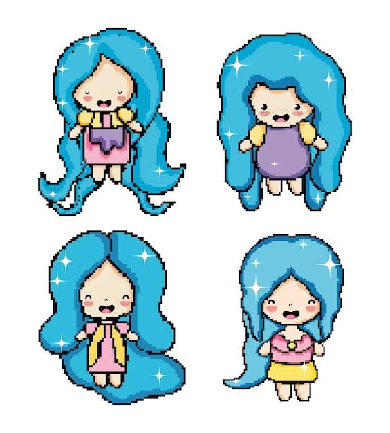 Pixel Art Dessin Animé Mignon Personnage De Fille