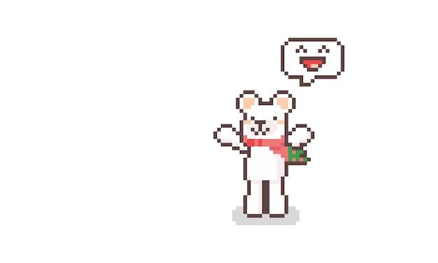 Pixel Art Dessin Animé Mignon Personnage D'ours Polaire Avec émoticône Heureuse. Vecteur Premium