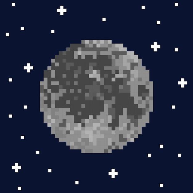 Pixel Art Lune Et étoiles Illustration Vectorielle