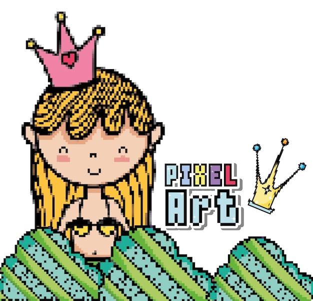 Pixel Art Mignon Princesse Sirène Télécharger Des Vecteurs