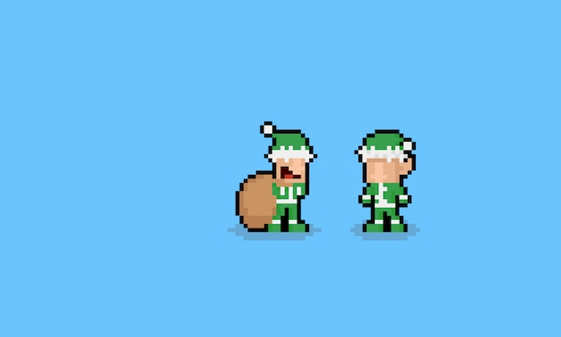 Pixel art personnages de dessin animé mignon elf. Vecteur Premium