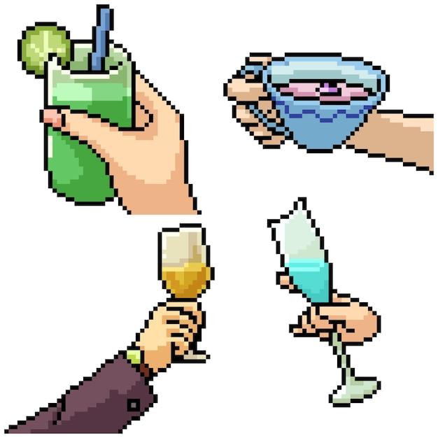 Pixel Art Set Isolé Main Tenant Boisson Vecteur Premium