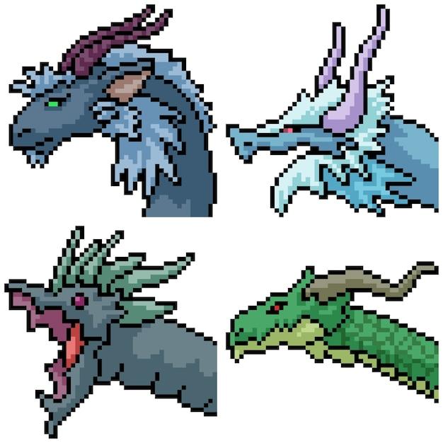 Pixel Art Set Portrait De Dragon Vecteur Premium