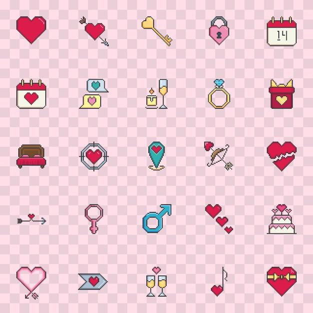 Pixel art valentine icon set vector. Vecteur Premium