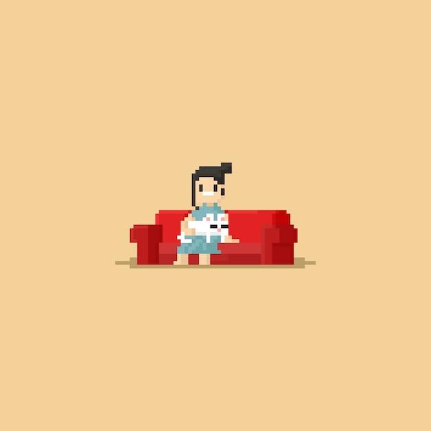 Pixel Chat Mignon Dormir Sur Les Genoux De La Femme