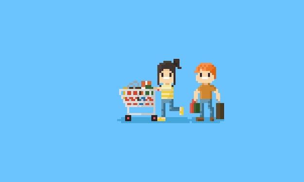 Pixel couple avec un caractère shopping cart.8bit Vecteur Premium