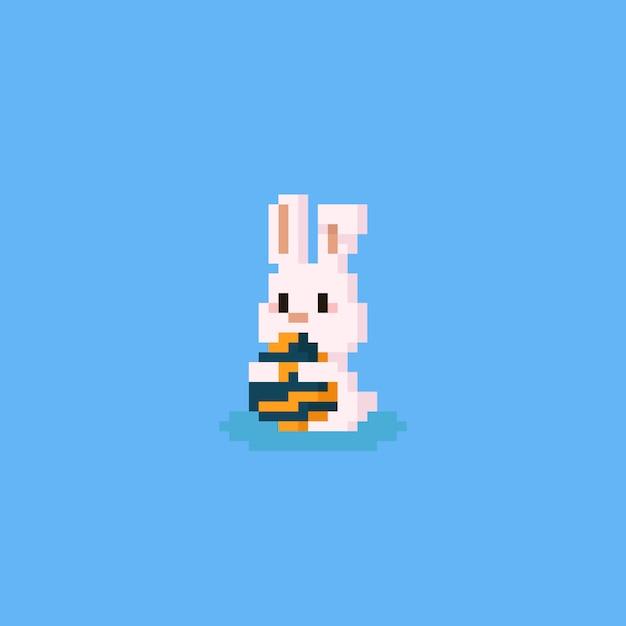 Pixel Lapin étreignant Loeuf De Pâques Télécharger Des