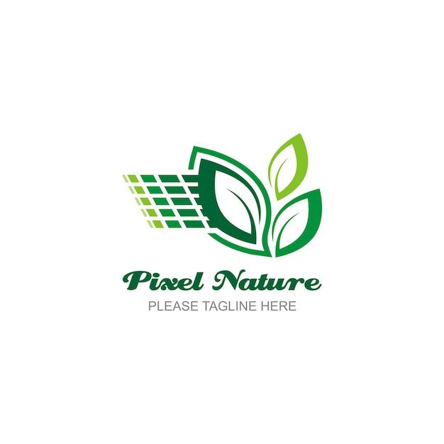 Pixel nature logo Vecteur Premium