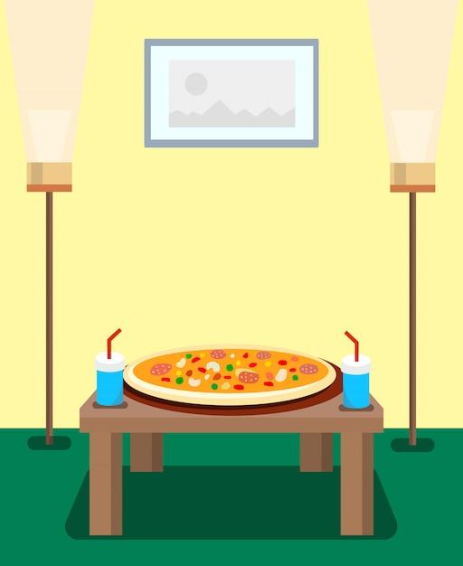 Pizza Et Boissons Gazeuses Cartoon Illustration Vecteur Premium