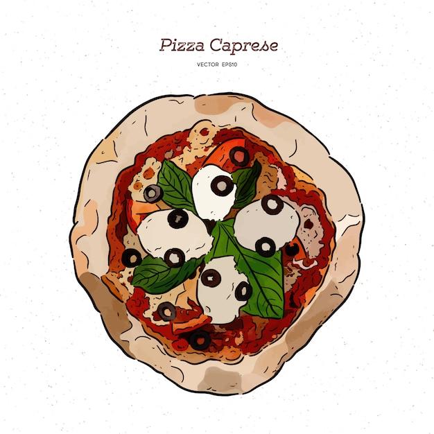 Pizza caprese avec mozzarella, tomates, olives et feuilles de basilic. Vecteur Premium