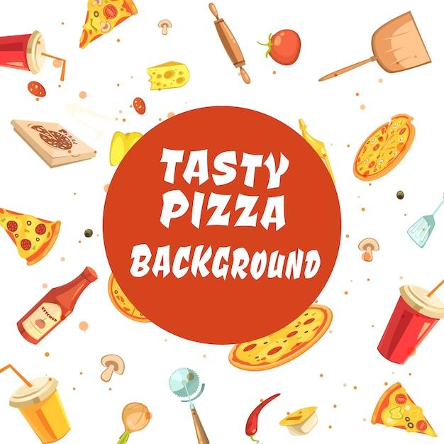 Pizza faisant set seamless pattern avec inscription blanche Vecteur gratuit