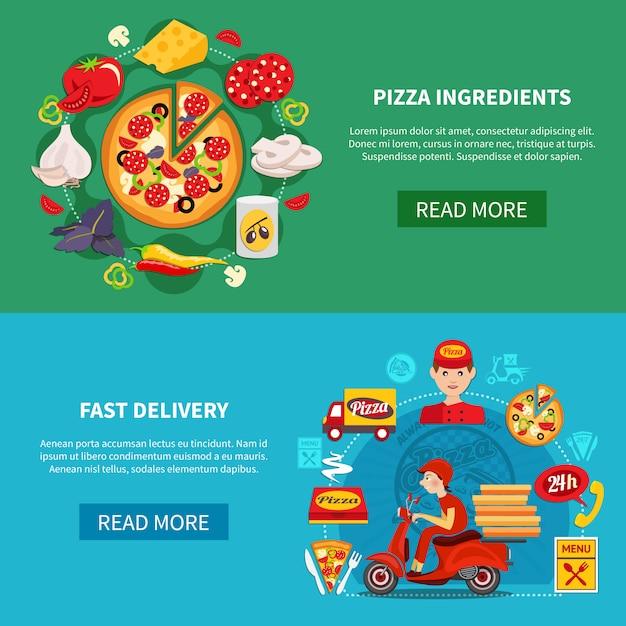 Pizza Fast Delivery Bannières Vecteur gratuit