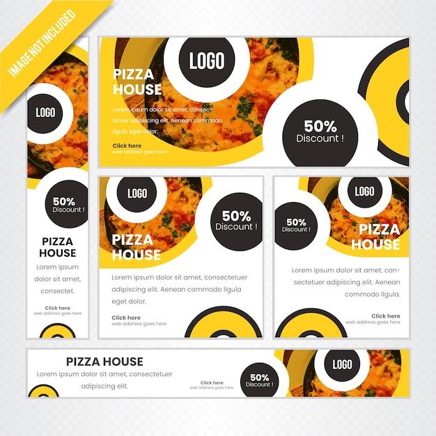 Pizza house web banner set pour le restaurant Vecteur Premium