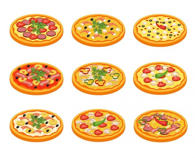 Pizza icons set Vecteur gratuit