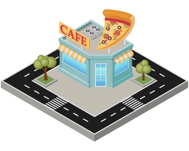 Pizza isométrique bâtiment avec route sur fond blanc. Vecteur Premium