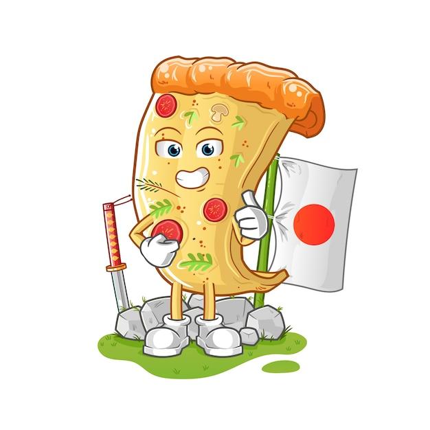 Pizza Japonaise. Personnage De Dessin Animé Vecteur Premium