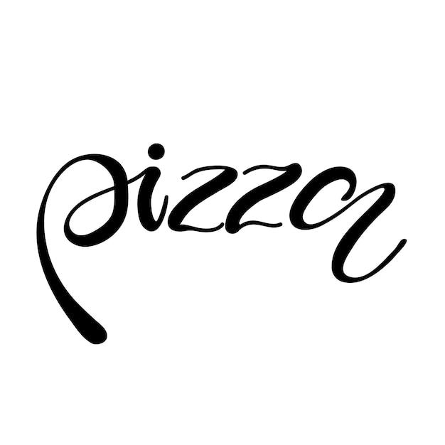 Pizza à Lettrage. Illustration Vectorielle Vecteur Premium