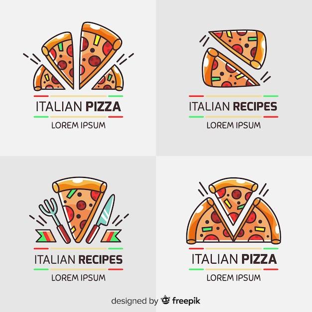 Pizza logotype collection Vecteur gratuit