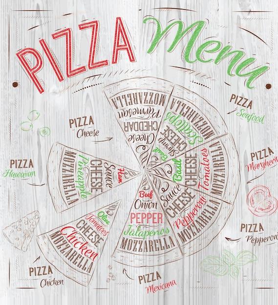 Pizza menu bois Vecteur Premium