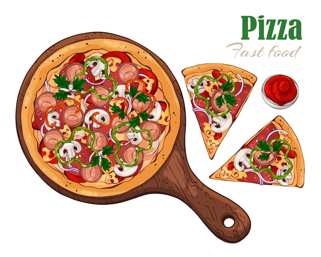 Pizza sur une planche. Vecteur Premium