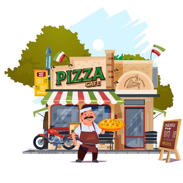 Pizza restaurant avec chef Vecteur Premium