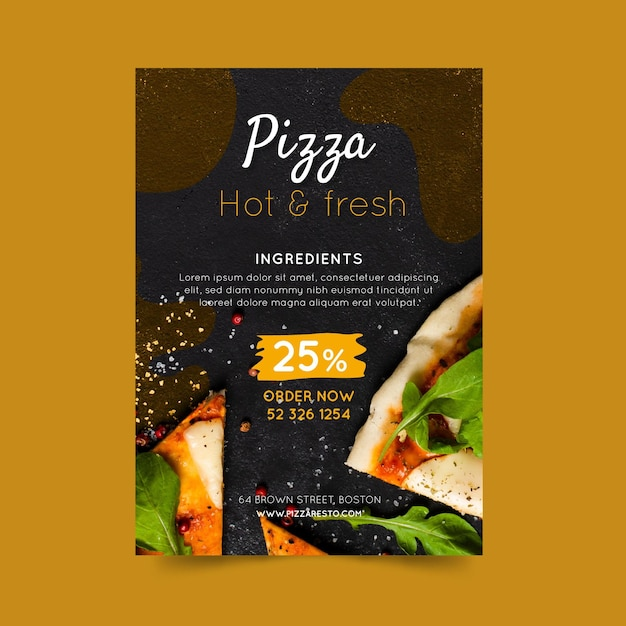 Pizza Restaurant Flyer Vertical Vecteur gratuit