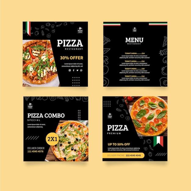 Pizza Restaurant Instagram Posts Vecteur gratuit