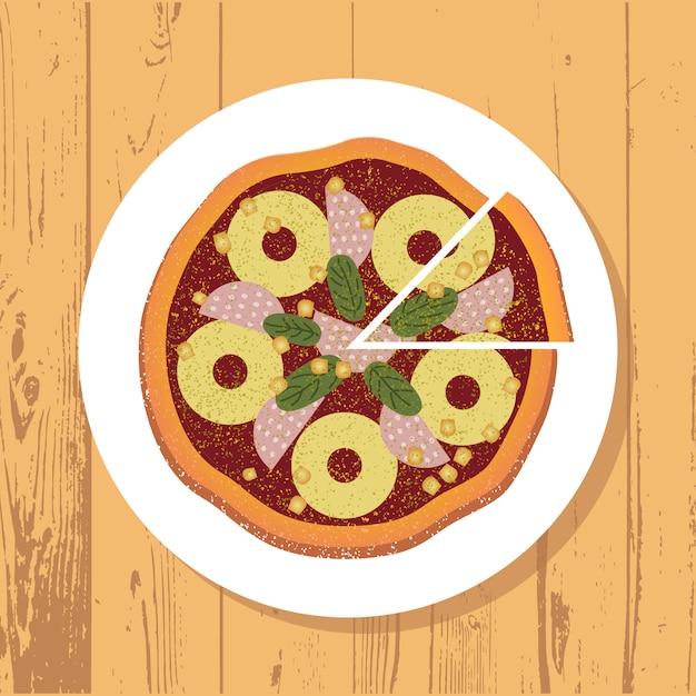 Pizza et tranche de pizza sur une plaque blanche Vecteur Premium